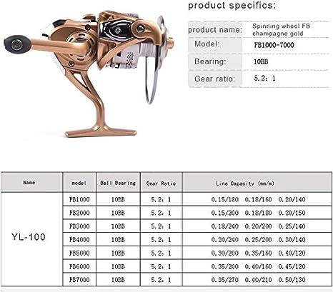 Spinning carrete de pesca 9 + 1BB de bobina de metal luz peso ...