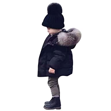 396a3f7abf49 Amazon.com  Vicbovo Toddler Baby Boy Kids Trendy Hooded Fur Down ...