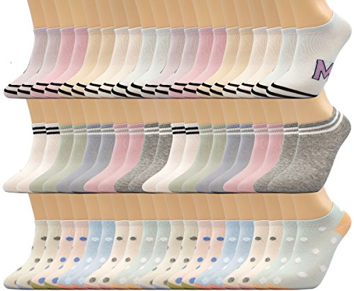 Motech 30 Pairs Colorful 80  Cotton No Show Low Cut Breathable Socks For Young Women  Teens  Girls