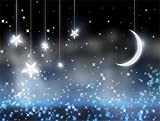 Leowefowa 7X5FT Twinkle Twinkle Stars Backdrop Shining Moon Night Starry Backdrops for Photography Bokeh Sparkle Sequins Vinyl Photo Background Sweet Baby Shower Girls Birthday Party Studio Props