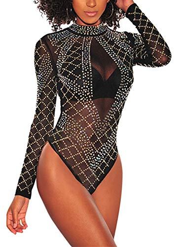 (ENLACHIC Women Rhinestone Studded Turtleneck Mesh Long Sleeves Bodysuit Lingerie)