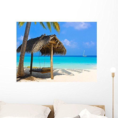 (Wallmonkeys Swing on a Tropical Beach Wall Decal Peel and Stick Graphic WM219957 (36 in W x 27 in H))