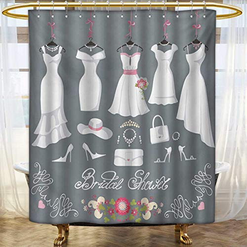 lacencn Bridal Shower,Shower Curtains Fabric,White Wedding Dress with Bride Details Bags Florals Print,Bathroom Decor Set with Hooks,White Pink and Charcoal Grey,Size:W108 x L72 inch