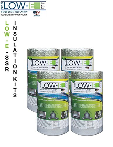 4 Pack Wholesale Lot  Esp Low E  Ssr Reflective Foam Core Insulation Kit  4 Rolls  Size 16 X25  Includes 25 Foil Tape Per Roll  Knife   Squeegee  Multipurpose Home Insulation For Your Building Project Or Just Every Day Household Needs