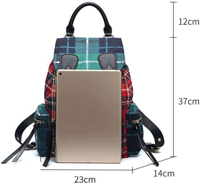 Backpack LCSHAN Shoulders Unisex Retro Student Contrast Color Stitching Large Capacity Travel Bag