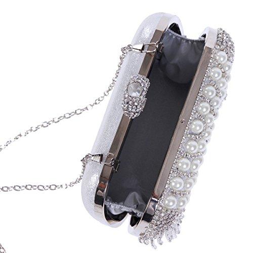Rhinestone Womens Tassel Glitter Curve Damara Gold Handbag Pearl 1Ewaqaxtd