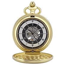 KS KSP085 Men's Vintage Frosted Half Hunter Golden Case Chinese Twelve Earthly Branches Time Hand-Winding Mechanical Pocket Watch