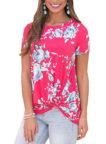 Dokotoo Womens Casual Summer Crewneck Short Sleeve Floral Print Knot Blouse and Shirts Tunics Tops T Shirts X-Large