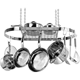 Stainless Steel Hanging Kitchen Cooking Accessories Oval Pot Racks with Shelf
