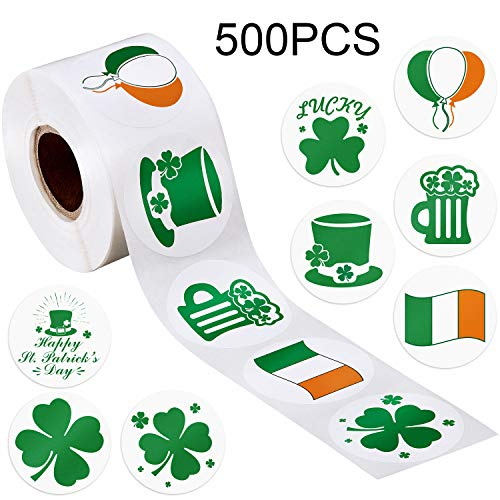 Boao St. Patrick's Day Stickers Shamrock Roll Stickers 1-1/2 Inch Adhesive Label for Irish Decoration and Craft (Style B, 500 Pieces) (The Real Meaning Of St Patrick Day)