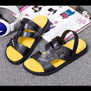 SHOES-XJIH&Uomini sandali Comfort luce suole in cuoio estate informale comfort suole di luce blu piatto nero,blu,US7.5 / EU39 / UK6.5 / CN40
