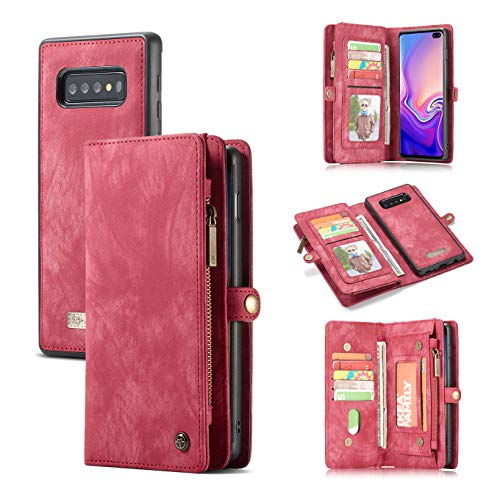 S10e/S10 Plus Wallet Case,AKHVRS Premium Leather Folding Flip Wallet Case Cover for S10e Card Slots Magnetic Closure Protective Cover Detachable Wallet Folio for Samsung Galaxy S10 Plus Red