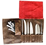 Chef's Knife Roll Bag Durable Waxed Canvas Carrier Stores 8 Knives PLUS Detachable Storage Unit for Culinary Accessories | Portable Chef Knife Case with Leather Shoulder Strap | Knives not Included