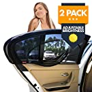 EZ-Slip Adjustable Brightness Car Side Window Sun Shade - Universal Car Sunshade For Infants, Babies, Kids & Pets In Car Rear Seat - Blocks 98% UV Rays - Set Of 2