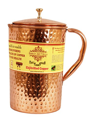 Set Jug (IndianArtVilla Hammered Pure Copper Pitcher/Jug with Lid | 71 Ounce/2100 ML Healthy and Traditional | with Yoga Ayurveda Benefits Home, Restaurant Hygienic Drinkware)