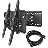 2xhome – NEW TV Wall Mount Bracket (Dual Arm) + FREE HDMI cable – Secure Cantilever LED LCD Plasma Smart 3D WiFi Flat Panel Screen Monitor Moniter Display Large Displays