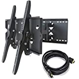 2xhome – NEW TV Wall Mount Bracket (Dual Arm) + FREE HDMI cable – Secure Cantilever LED LCD Plasma Smart 3D WiFi Flat Panel Screen Monitor Moniter Display Large Displays - Long Swing Out Dual Double Arm Extending Extendible Adjusting Adjustable - Full