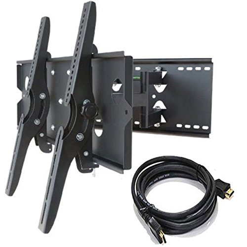 - 2xhome - NEW TV Wall Mount Bracket (Dual Arm) + FREE HDMI cable - Secure Cantilever LED LCD Plasma Smart 3D WiFi Flat Panel Screen Monitor Moniter Display Large Displays - Long Swing Out Dual Arm