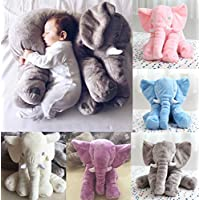 Elephant Pillow(Baby Toys)/Elephant Stuffed Plush Pillow Sleeping Cushion Pillow Kids Comfort Toy (Grey)