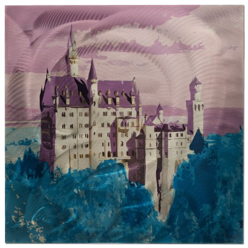 Contemporary Decor - 'Neuschwanstein Castle' - 22x22 in. - Colorful Abstract Germany - Metal Wall Art