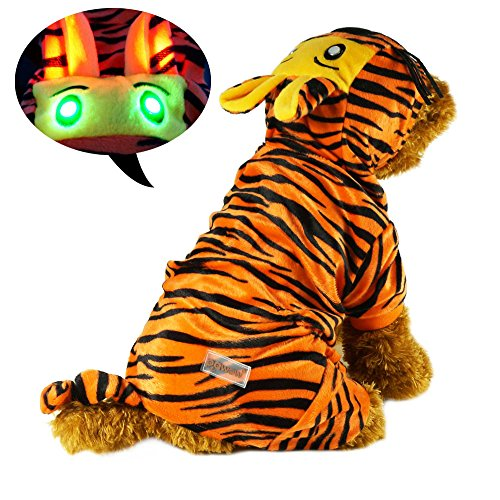 Pawow LED Light up The Tiger Dog Costume Puppy Pet Hoodie Jumpsuit Clothes Size, Large (Halloween Costumes For Dachshunds)
