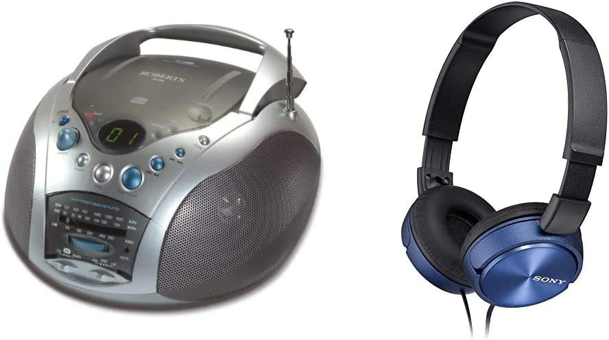 Roberts CD9959 Swallow LW//MW//FM Radio CD Player Grey//Silver /& Sony MDRZX310L.AE Foldable Headphones Metallic Blue