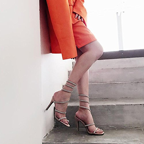 Da Sera Le Colore Tacco Dimensioni 5 Primavera Sandali Scarpe Rosa uk5 Verde Abito Estate Sposa Donne Donna Nero Eu38 Argento Per cn38 amp; Stiletto Haizhen 5xPzwHP