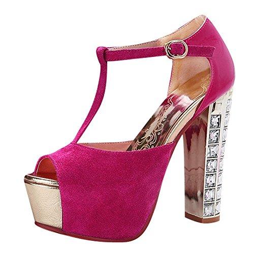 Plate Super Talon Femmes De Rose Chic Toe Carolbar Peep Rouge Sandales Haut Soir forme T bracelet qSdwXRgf