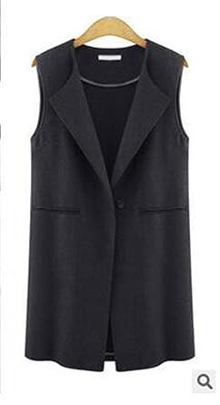 Kongsta New Vest Coat Mujeres Largo Abrigo Estilo Europen Chaqueta Volver dividir Outwear Casual Tops A