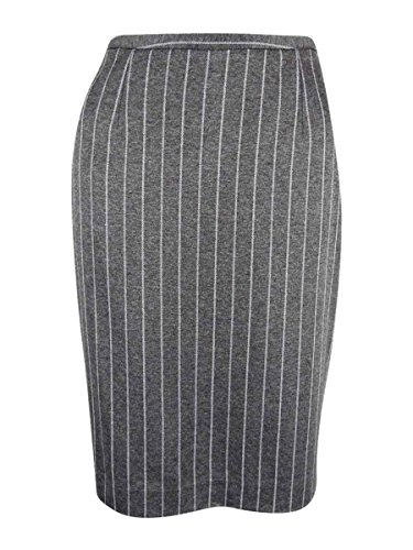 Pinstriped Pencil Skirt - Tommy Hilfiger Women's Pinstriped Knit Pencil Skirt (12, Grey/Ivory)
