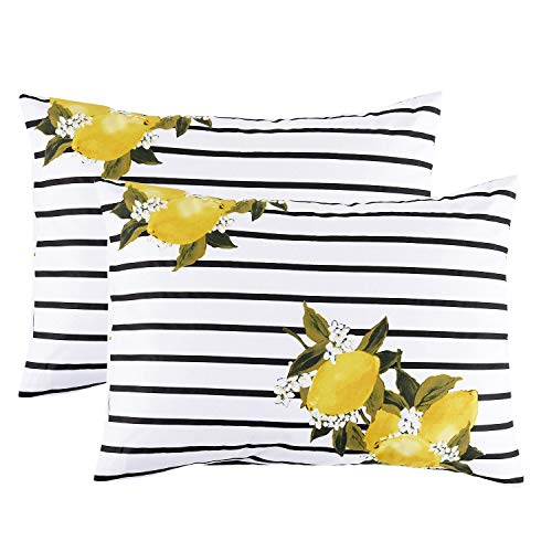 (Wake In Cloud - Pack of 2 Pillow Cases, 100% Cotton Pillowcases, Yellow Lemon Pattern with Black and White Stripes Printed (Standard Size, 20x26)
