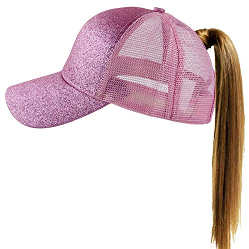 Muryobao Womens Ponytail Baseball Cap Messy High Bun Ponycap Adjustable Snapback Summer Sun Hat Glitter Plain Trucker Dad Hat Mesh Pink