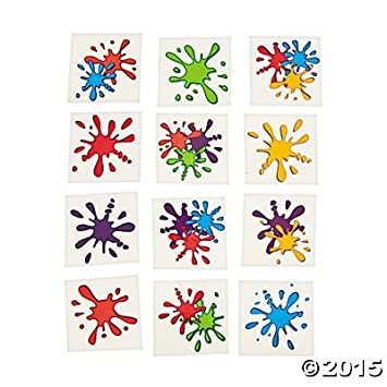 Artist Party Paint Splash Tattoos - 72 pc