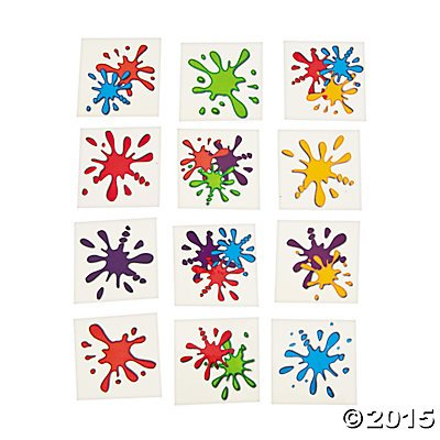 Artist Party Paint Splash Tattoos - 72 pc (Artist Birthday Party Decorations)