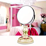 YAOHAOHAO Mirror- Beauty Vanity Mirror Makeup Desktop Dressing Mirror Resin 6 Inch High-Definition Double-Side Adjustable Round Portable Mirror On Foot Stand Mirror (Color : Light Green)