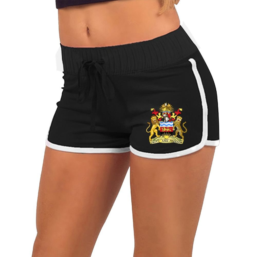ODLS7 Women's Fashion Coat Of Arms Of The Malawi Beach Shorts Summer Athletic Casual Short Pants Low Waist Sexy Hot