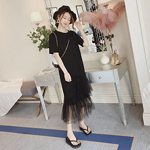 MiGMV?Robes Robe Net Minimaliste, Femme 2018 T-Shirt, Jupe Longue en y,M,Black