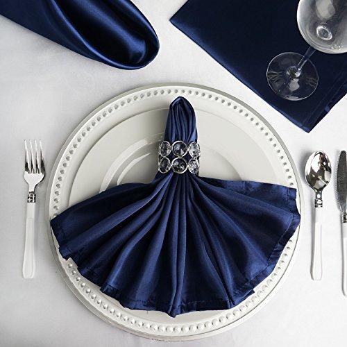 BalsaCircle 10 pcs 20-Inch Navy Blue Satin Dinner Napkins - for Wedding Party Reception Events Restaurant Kitchen Home