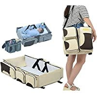 Babies Bloom Beige Portable Multifunctional Baby Travel Bed Cot/Bassinet and Folding Diaper Bag