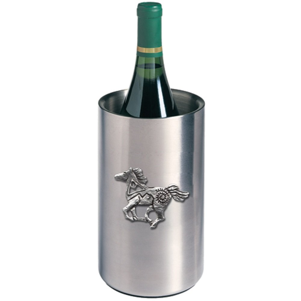 ANIMAL, HORSE, PONY FETISH WINE CHILLER, This is a wine chiller made of double-wall insulated stainless steel with a fine pewter logo medallion bonded to the front.