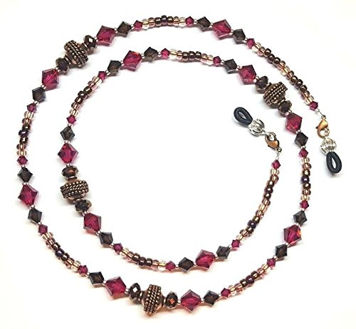 Glass Necklace Czech Antique Beads - Copper Rope Fuchsia & Mocca Austrian Crystal Eyeglass Chain Holder