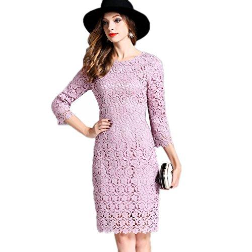 Cotylédons Women`s De Robes De Bal 3 / 4sleeve Encolure Dégagée Amincissent Robe Formelle Rose
