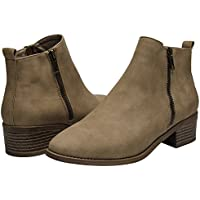 Ankle Boots for Women - Short Boots for Ladies w/Low Chunky Block Stacked Heels Round Toe, Slip on Ankle Boots.