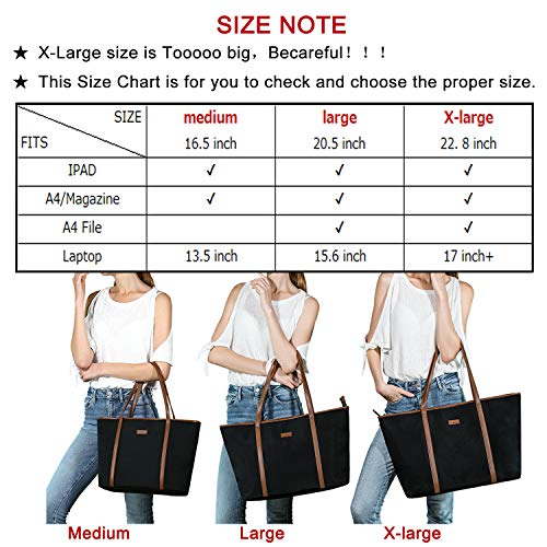 NEW Extra Large Work Tote Bag, CHICECO X-Large 22.83 Inch Length Travel Bag fits to Laptop for Women (X-Large, Brown Black)