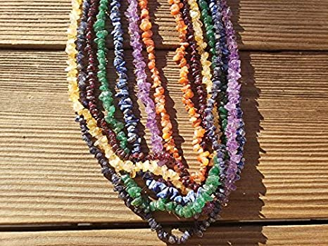 Natural Gemstone Chip Necklaces by Healing Light Stones Amethyst Peridot Garnet