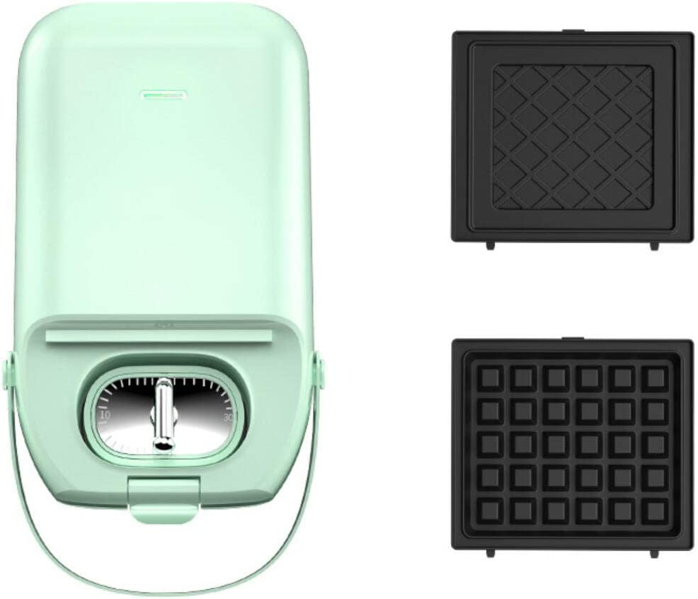 2 in 1 Waffle Maker, Non-Stick Waffle Griddle Iron, Waffles and Toaster Maker 650W For Waffles, or Any Breakfast, Lunch, and Snacks, Mini Baking Pan Kitchen Supplies Electric Waffle Maker Home,Green