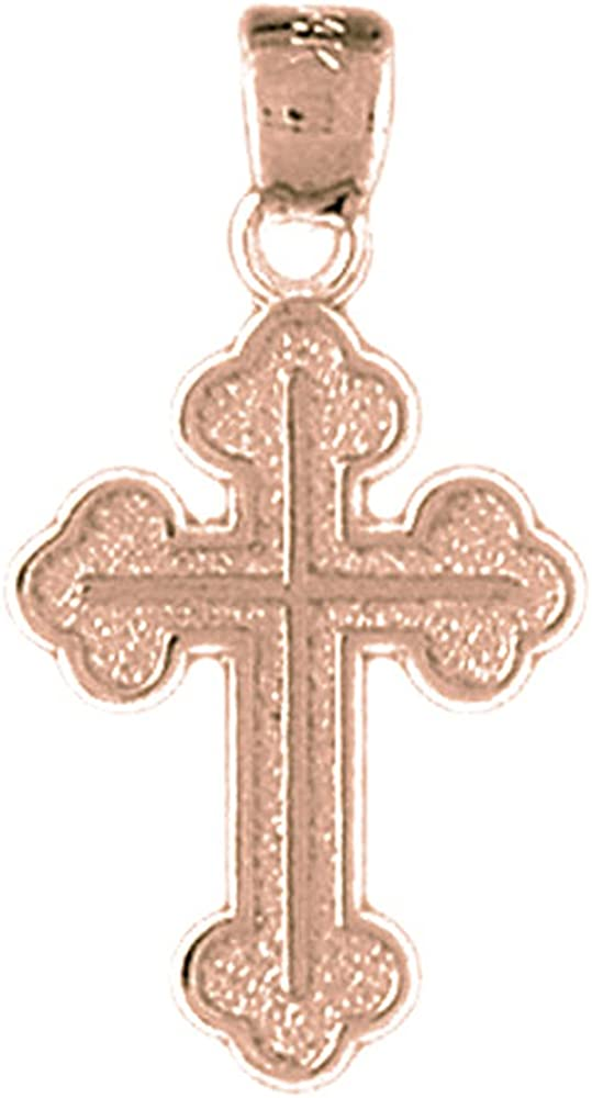 Jewels Obsession Solid 14K Rose Gold Cross Pendant 27 mm