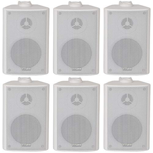 6x (3 paar) – 60W 2 Way White Wall Mounted Stereo Speakers & Brackets – 3″ 8Ohm – Mini Compact Achtergrond Muziek Loudspeakers Voor HiFi Surround Sound & Streaming