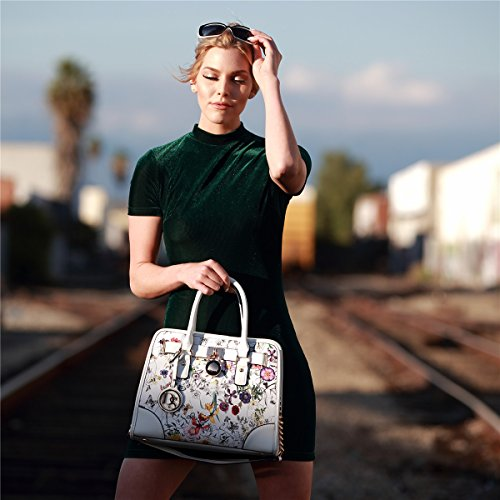 Dasein Women's Designer Padlock Belted Top Handle Satchel Handbag Purse Shoulder Bag With Matching Wallet (02-6892 Simple Color Pewter + Matching wallet) by Dasein (Image #3)