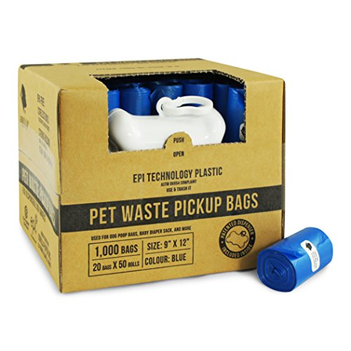 Gorilla Supply 1000 Blue Dog Pet Poop Bags, EPI Technology, 50 Refill Rolls (with Patented Dispenser)